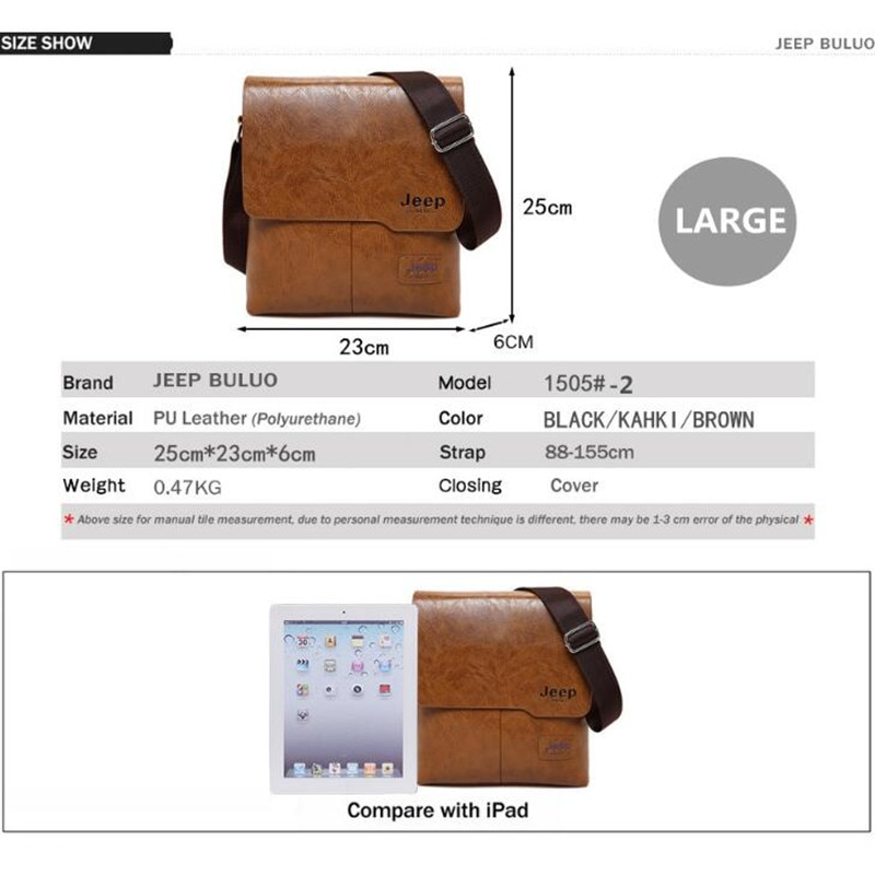 Home   Accessories for Men   Bags for Men   Men Tote Bags JEEP BULUO Famous  Brand New Fashion Man Leather Messenger Bag Male Cross Body Shoulder  Business ... 8bd3b66b297c2