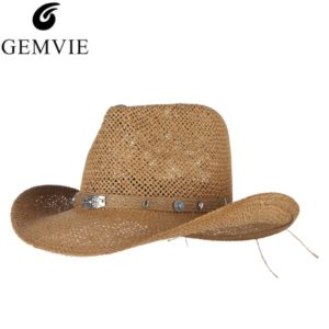 c72a41e0179 Western Cowboys Cap For Men Wide Brim Sun Hat Hollow Out Straw Hats With  Scorpion Belt Vintage Beach Jazz Cap Male Panama