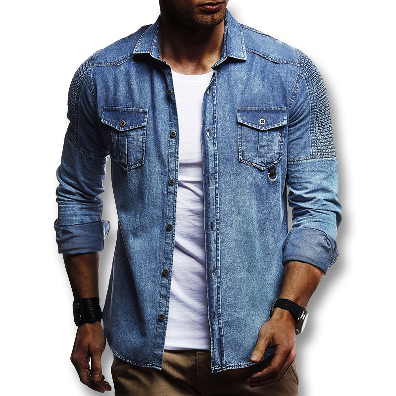 Fit Spring Denim Male 2018 Men Jeans Shirts Slim Fashion Casual 8nONwvm0